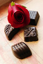 Chocolates and rose Royalty Free Stock Photos