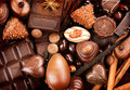 Chocolates sweets background praline chocolate Royalty Free Stock Images