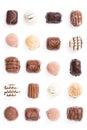 Chocolates on white Stock Photos