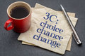 Choice chance and change c concept handwriting on a napkin with cup of coffee against gray slate stone background Stock Photography