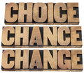 Choice chance and change words cs in life concept isolated text in letterpress wood type Stock Image