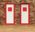 Choice doors means choosing decision and doorframe showing choose alternative path Stock Images