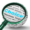 Choice magnifier definition shows confusion or dilemma showing uncertainty Royalty Free Stock Images