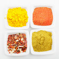 Choice of spices above view Royalty Free Stock Photos