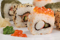 Choice of sushi variations with rice vegetables salmon and caviar Stock Image