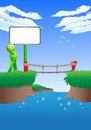 Choices to cross the bridge illustration of a green man have a difficult Royalty Free Stock Photos