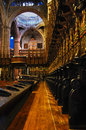 The choir in cathedral barcelona Royalty Free Stock Images