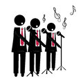 Choir three black silhouettes of a with microphone singing to the background Royalty Free Stock Images