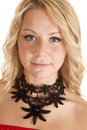 Choker black flower necklace a woman looking wearing a Royalty Free Stock Image