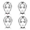 Choker set vector necklace with symbol Royalty Free Stock Image