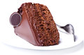 Chokolate cake with fork Stock Images