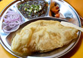 Chole bhature indian meal consisting of and Stock Photo