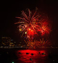Chonburi, Thailand - November 28, 2015: Pattaya International Fireworks Festival is a competition between multiple countries Royalty Free Stock Photo