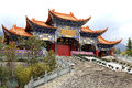 Chongshen temple and Three Pagodas in Dali. Yunnan province. China. Royalty Free Stock Photo