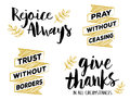 Rejoice Always, Pray without Ceasing, Give Thanks in all Circumstances, Faith Lettering Set Royalty Free Stock Photo