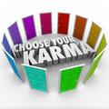 Choose Your Karma Many Doors Paths Fate Destiny Luck Royalty Free Stock Photo