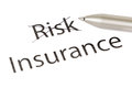 Choosing insurance instead of risk with pen isolated Royalty Free Stock Photography