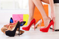 Choosing the perfect pair. Royalty Free Stock Photo