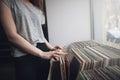 Choosing retro vinyl records. Music background