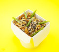 Chop suey paper box yellow background Stock Images