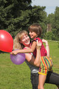 Chłopak dziewczyny dzienna sztuka słoneczna Zdjęcie Stock