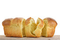 Chopped brioche white background Royalty Free Stock Images