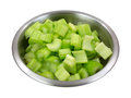 Chopped celery in stainless steel bowl Royalty Free Stock Photos
