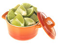 Chopped Fresh Limes Royalty Free Stock Images