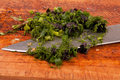 Chopped greens and knife Royalty Free Stock Photography