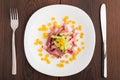Chopped ham on white plate Royalty Free Stock Photo
