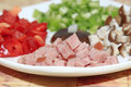 Chopped luncheon meat close up of Stock Photography
