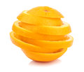 Chopped orange slices on white background Stock Photo