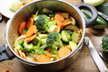 Chopped raw vegetables in pressure cooker filled with broccoli carrots potatoes celery yams Stock Images