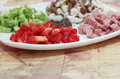 Chopped red bell pepper close up of Stock Photos