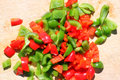 Chopped red and green peppers. Royalty Free Stock Photo