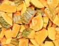 Chopped squash pieces of as a background image Stock Photo
