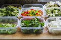 Chopped Vegetables in Plastic Storage Containers Royalty Free Stock Photo