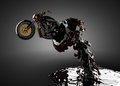 Chopper bike in liquid Royalty Free Stock Images