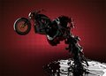 Chopper bike in liquid Stock Images