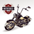Chopper customized motorcycle on white vector illustration Stock Photo