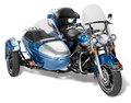 Chopper old motorcycle combination with sidecar in white back Stock Images