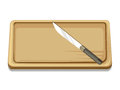 Chopping board and knife isolated illustration on white background Stock Photography