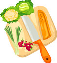 Chopping board with vegetables illustration of isolated Stock Photo