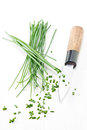 Chopping chives Royalty Free Stock Photo