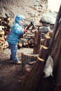 Chopping firewood little boy with an axe Royalty Free Stock Images