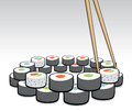 Chopsticks grabbing some sushi cartoon illustration of a dinner Stock Photo