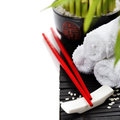 Chopsticks and a lucky bamboo plant oriental style table serving concept Royalty Free Stock Photography