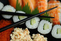 Chopsticks and sushi Royalty Free Stock Photo