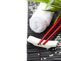 Chopsticks and towels oriental style table serving Royalty Free Stock Image