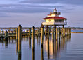 Choptank river lighthouse at sunset the located on the near cambridge maryland on the maryland eastern shore this is a Stock Photo